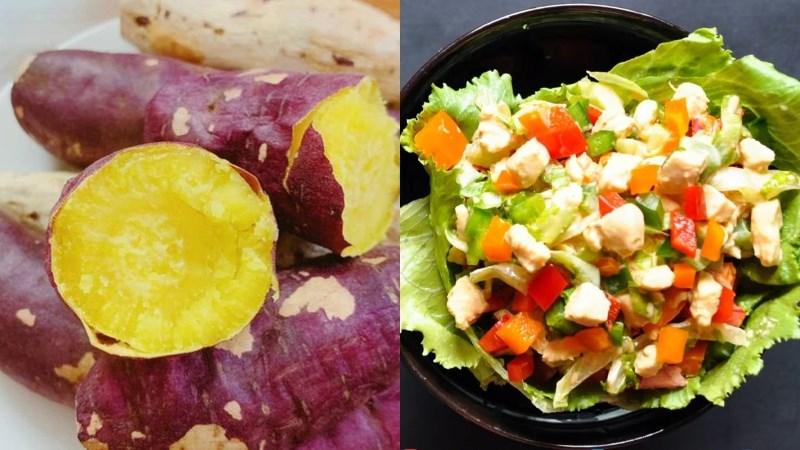 Bữa trưa: Khoai lang luộc, salad ức gà ớt chuông