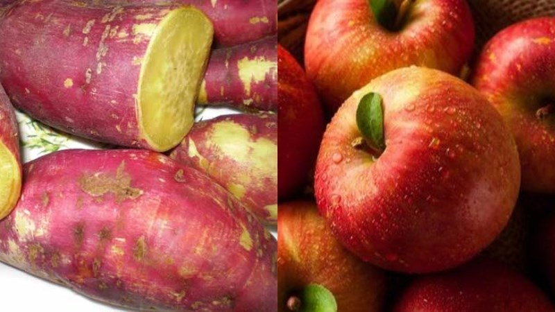 Bữa trưa: 1 củ khoai lang luộc, 2 quả táo