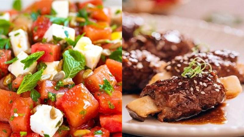 Bữa trưa: Salad dưa hấu, bò cuộn nấm nướng