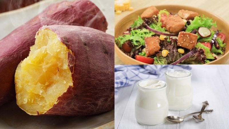 Bữa trưa: Khoai lang luộc, salad ức gà teriyaki, sữa chua không đường