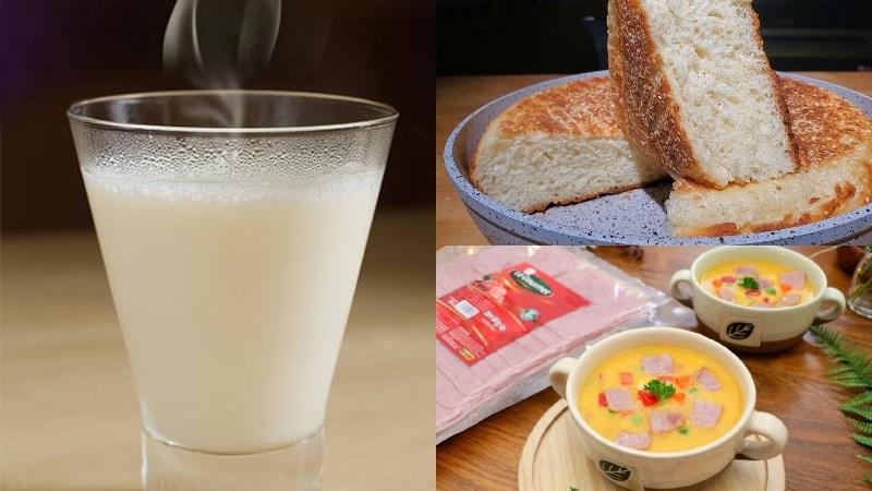 Bữa trưa: Súp khoai lang dăm bông, bánh mì nướng, sữa nóng