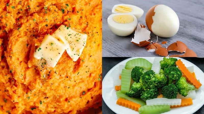 Bữa chiều: Khoai lang nghiền, rau củ luộc, trứng luộc