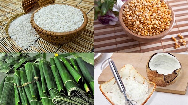 Nguyên liệu món ăn bánh ít nếp xào nhân dừa đậu