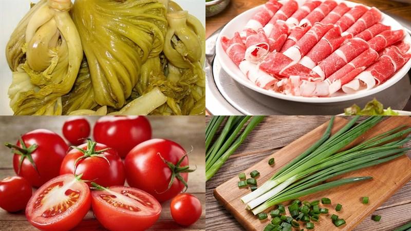 Nguyên liệu món ăn canh dưa chua thịt bò