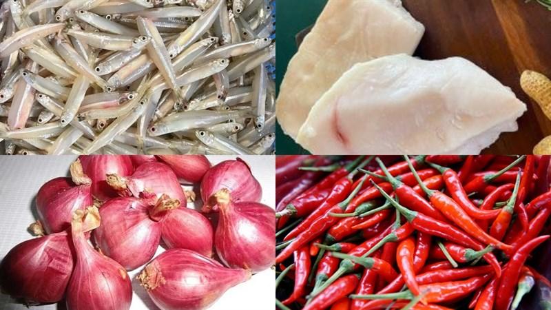 Nguyên liệu món ăn cá cơm kho cay