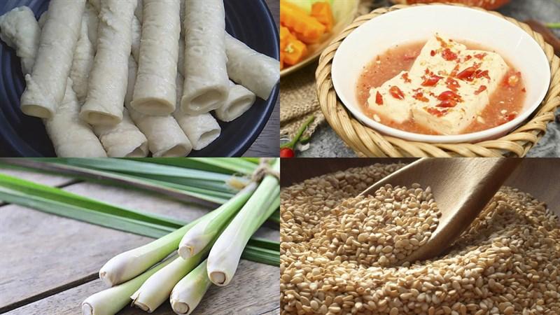 Nguyên liệu món ăn mì căn nướng chao và nướng rau củ