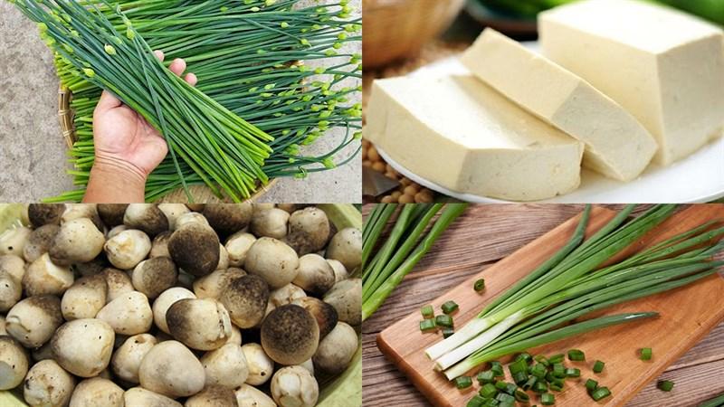 Nguyên liệu món ăn canh bông hẹ đậu hũ nấm