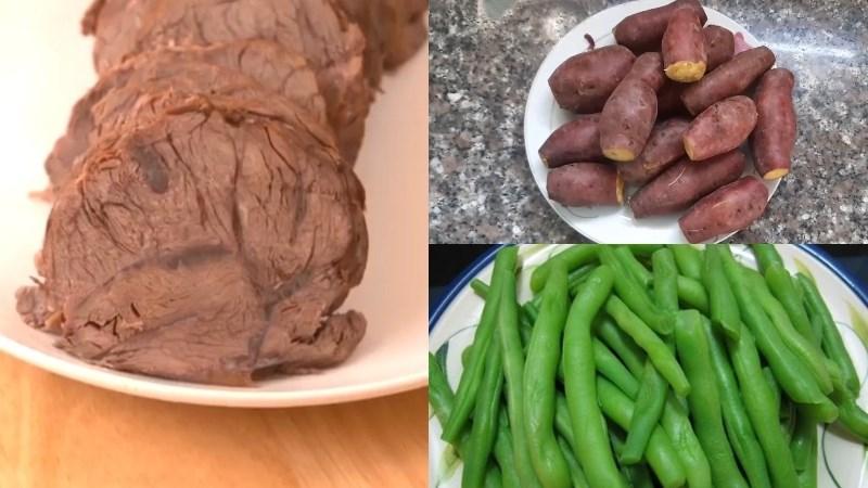 Khoai lang luộc, thịt bò luộc, đậu que luộc