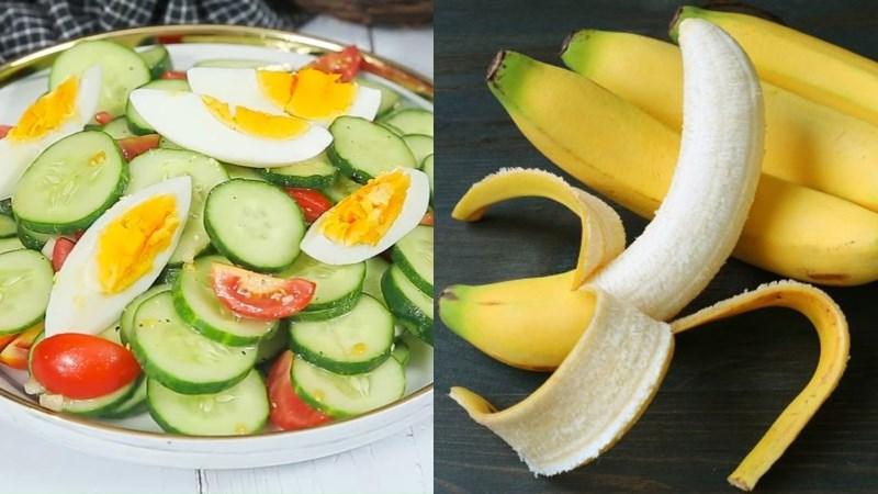 Salad dưa chuột cà chua trứng luộc, chuối