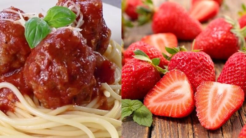 Mì Ý sốt thịt viên cà chua, dâu tây