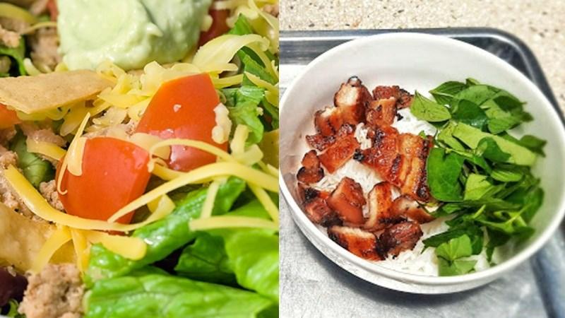 Thịt heo nướng, salad cần tây
