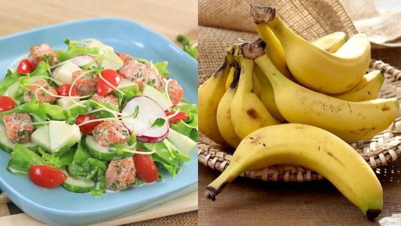 Salad cá hồi sốt sữa chua, chuối