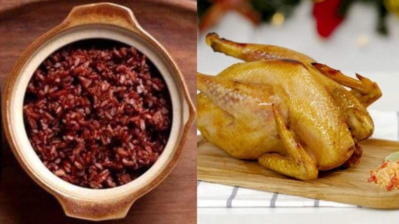 Cơm gạo lứt, thịt gà nướng
