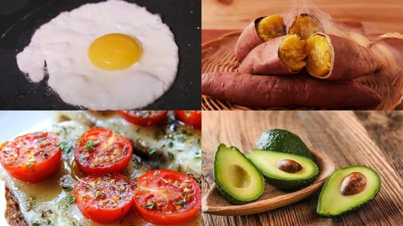 Trứng ốp la, khoai lang, cà chua nướng, bơ