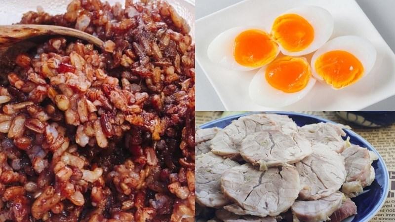 Cơm gạo lứt, thịt luộc, trứng luộc