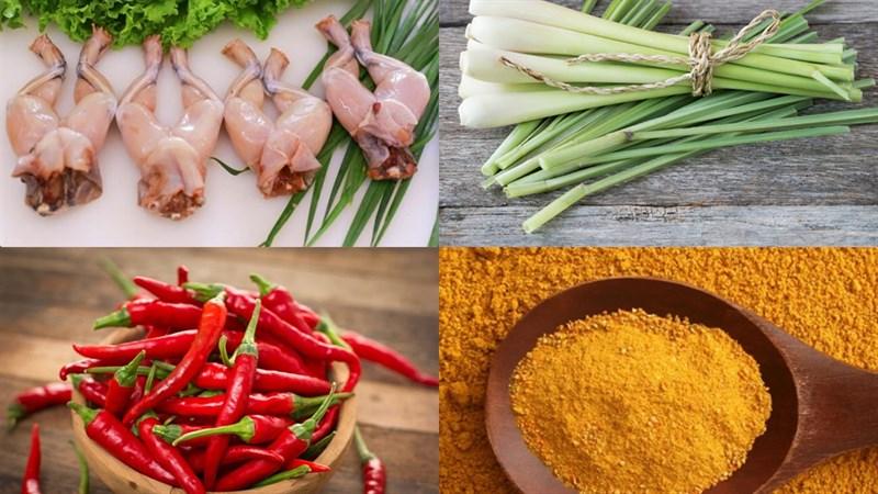 Nguyên liệu món ăn ếch xào sả ớt cà ri