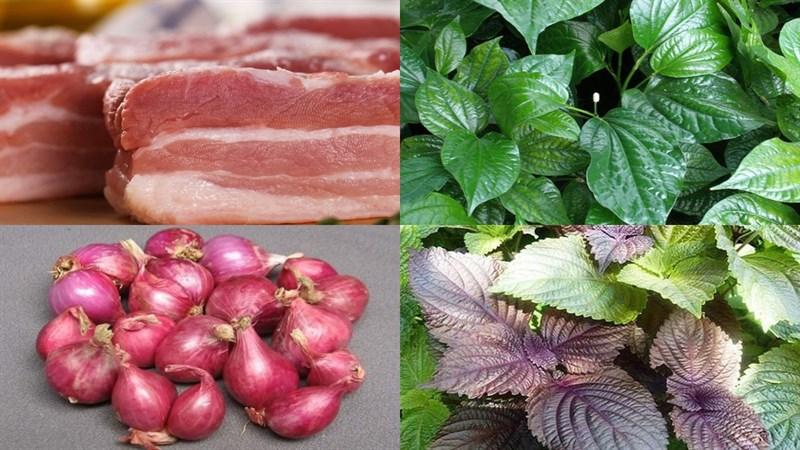 Nguyên liệu món ăn thịt heo xào lá lốt