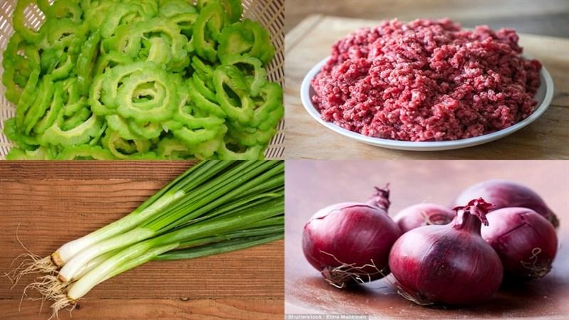 Nguyên liệu món ăn canh khổ qua thịt bằm, canh khổ qua thịt bằm vò viên