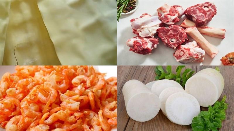 Nguyên liệu món ăn hoành thánh lá nấu tôm khô