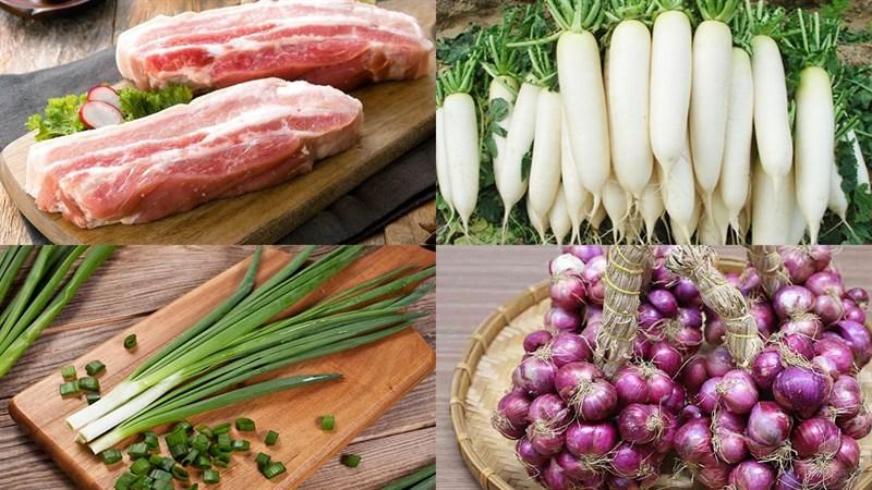 Nguyên liệu món ăn thịt ba chỉ kho củ cải