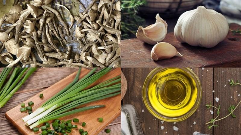 Nguyên liệu món ăn nấm mối xào tỏi chay