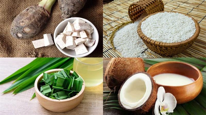 Nguyên liệu món ăn chè khoai môn nếp
