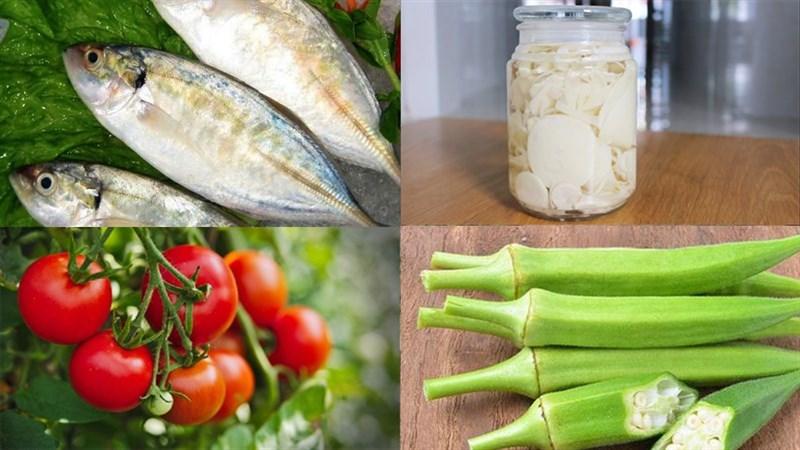 Nguyên liệu món ăn canh chua cá bạc má măng chua