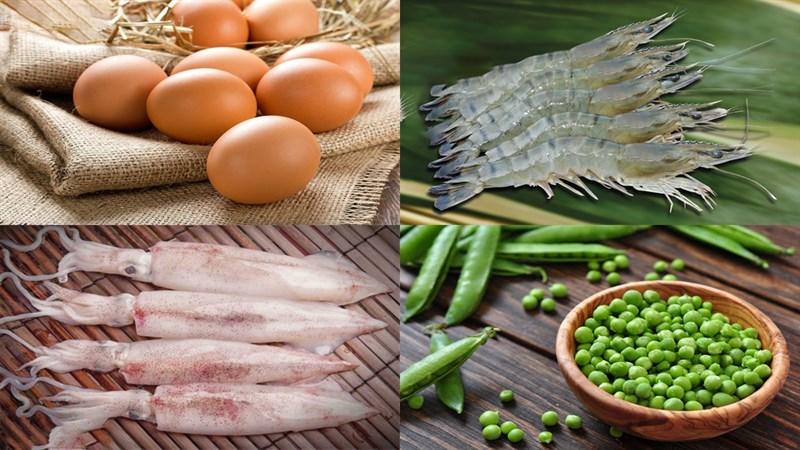 Nguyên liệu món ăn trứng hấp thịt, hải sản, rau củ