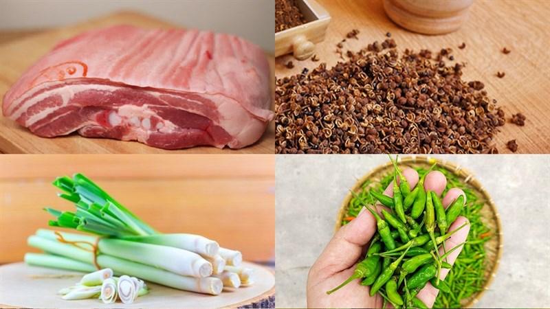 Nguyên liệu món ăn ba chỉ cuốn sả và cuốn cơm ngũ vị