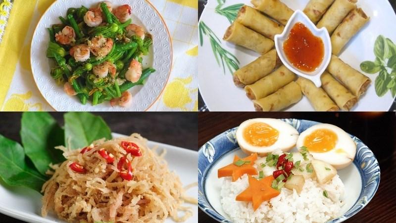 Thực đơn 4: Tôm xào bông bí, chả giò tôm thịt, nem thính, rau củ quả luộc, trứng ngâm nước tương, mít