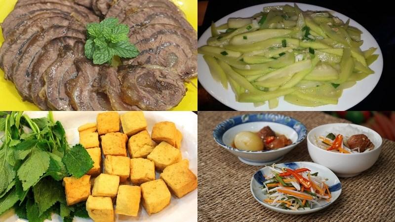 Thực đơn 5: Bắp bò luộc, bầu xào tỏi, đậu phụ rán, dưa giá, bánh nếp