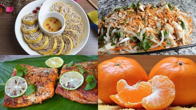 Thực đơn 6: Trứng hấp rau củ, gỏi gà hành tây, cá hồi nướng muối ớt, rau dền luộc, quýt
