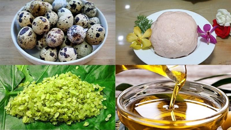 Nguyên liệu món ăn trứng cút chiên cốm xanh