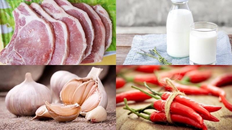 Nguyên liệu món ăn 2 cách làm sườn cốt lết rim sữa tươi và chua ngọt