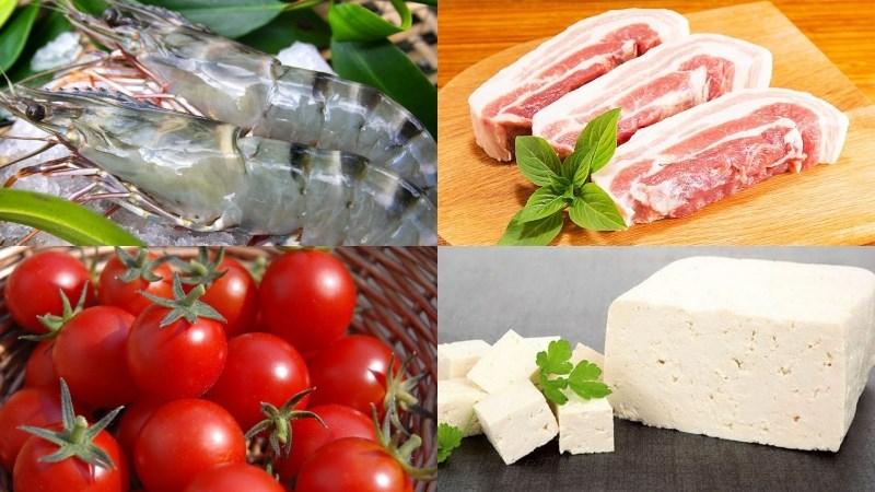 Nguyên liệu món ăn bún riêu tôm thịt