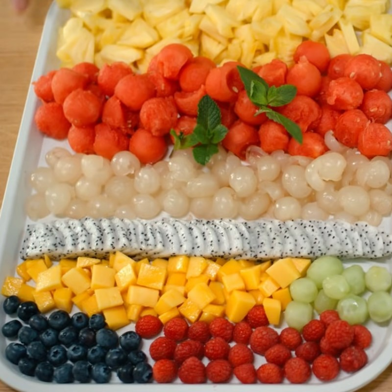 Bước 1 Sơ chế hoa quả Thạch rau câu viên bi hoa quả