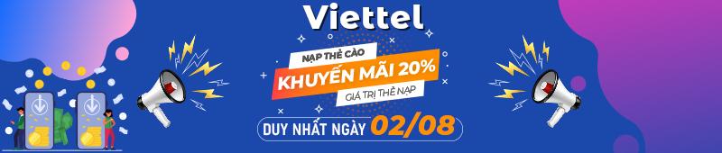 Viettel tặng 20% giá trị thẻ nạp ngày 02/08