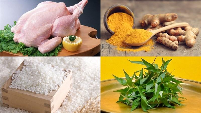 Nguyên liệu món ăn cơm gà phú yên