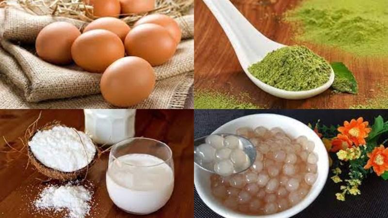 Nguyên liệu món ăn chè caramen matcha
