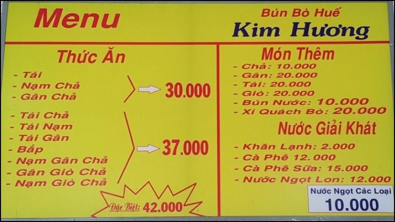 Quán Bún Bò Huế Kim Hương