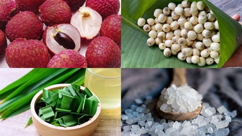 Nguyên liệu món ăn chè vải hạt sen