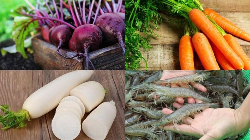 Nguyên liệu món ăn canh củ dền nấu tôm tươi