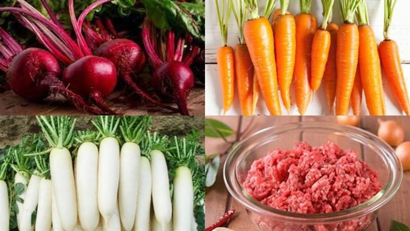Nguyên liệu món ăn canh củ dền thịt băm