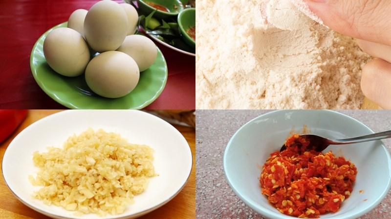 Nguyên liệu món ăn hột vịt lộn chiên nước mắm
