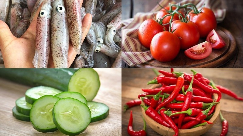 Nguyên liệu món ăn mực xào cà chua dưa leo