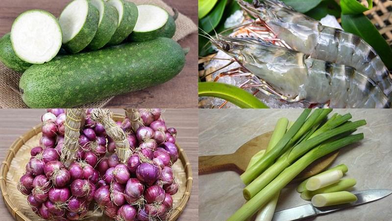 Nguyên liệu món ăn canh bí đao nấu tôm tươi