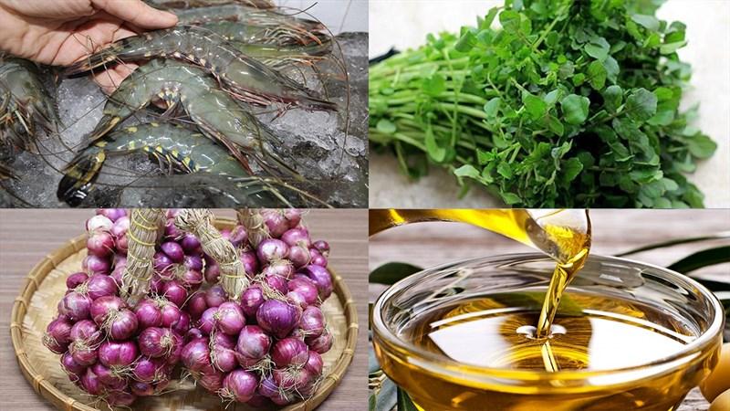 Nguyên liệu món ăn canh xà lách xoong tôm tươi