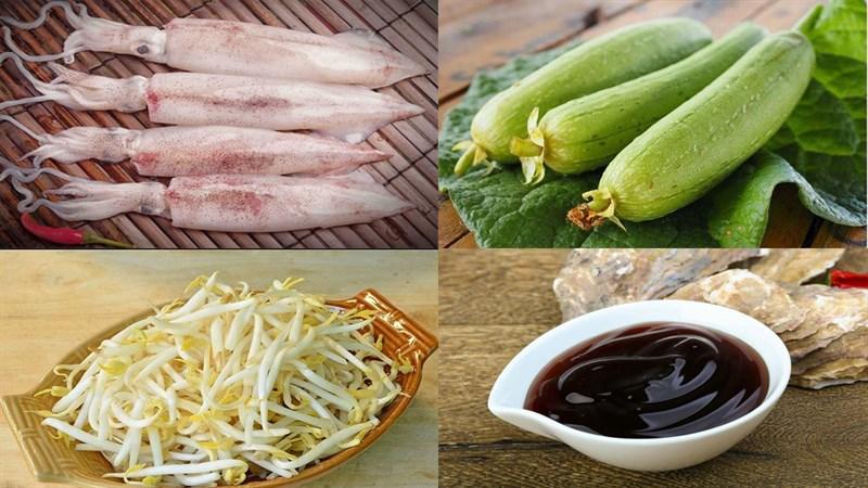 Nguyên liệu món ăn mực xào mướp