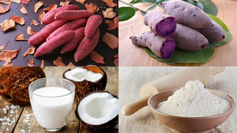 Nguyên liệu món ăn chè khoai dẻo, chè khoai dẻo với nước thảo mộc