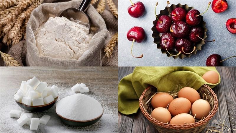 Nguyên liệu món ăn bánh bông lan cherry